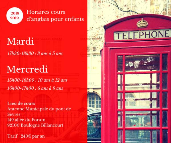 Cours d'anglais pour enfants Boulogne Billancourt
