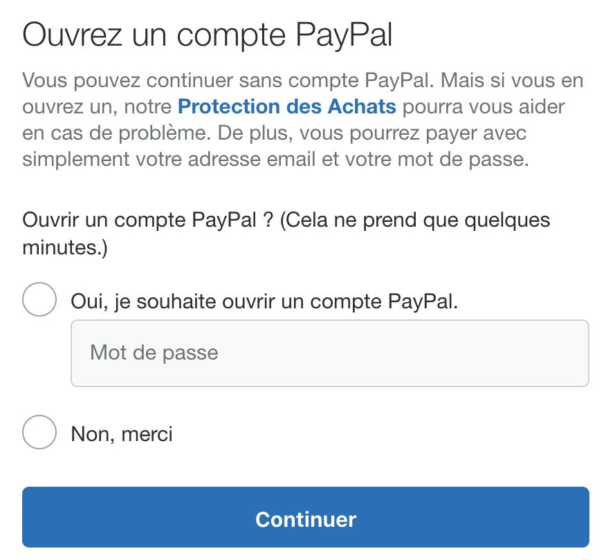 Paiement Paypal sans ouvrir de compte